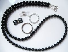 Jet Black Convertible Eyeglass Chain Lanyard by BeaditudeBoutique, $29.00