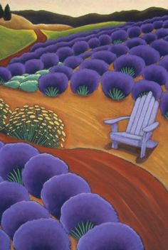 Lavender and Purple Chair, <br />oil pastel on paper, x 2003 Deco Pastel, Pastel Art, Pastel Paper, Oregon Landscape, Landscape Art, Illustrations, Illustration Art, Lavender Fields, Lavander