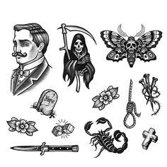 Flash Art Tattoos, Tattoo Flash Sheet, Old School Tattoo Designs, Tattoo Designs Men, Tattoo Old School, Moth Tattoo Design, Old School Ink, Gentleman Tattoo, Tombstone Tattoo