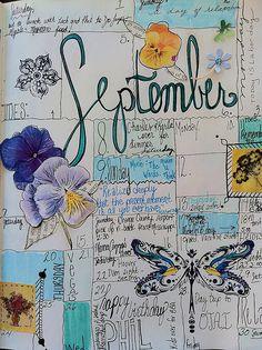 September 2012 daily calendar journal. Inspired by artist Geninne D Zlatkis.