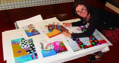 Behind-the-scenes look at Donna Sharam creating her colorful animals!