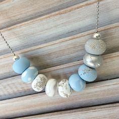 Pastel blue and white bead necklace polymer clay by Rubybluejewels