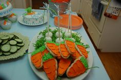 Carrot cookies for Peter Rabbit birthday party.