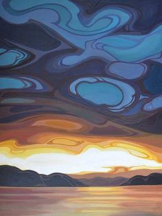 Canadian A Kelowna resident, Erica studied art and design at Colorado institute of art, finished up with design degree in Vancouver. Watercolor Landscape Paintings, Abstract Landscape, Watercolor Art, Painting Abstract, Acrylic Paintings, Cloud Drawing, Canadian Art, Art Plastique, Cool Artwork