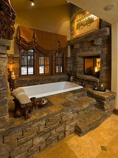 Dream Cabin in the Mountains...one day. Elegant Ranch House Architecture with Rustic Atmosphere: Rustic Traditional Bathroom Stone Feature Bear Basin Ranch ~ SQUAR ESTATE Architecture Inspiration