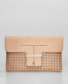 Perforated Leather Envelope Clutch