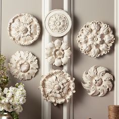 Set of 7 Medallion Wall Decorations in Antique Finish © Two's Company