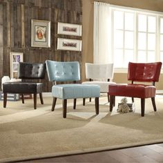 TRIBECCA HOME Charlotte Faux Leather Armless Accent Chair | Overstock.com Shopping - The Best Deals on Living Room Chairs