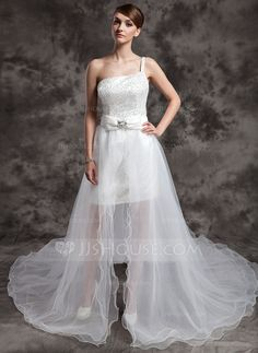Wedding Dresses - $162.99 - A-Line/Princess One-Shoulder Asymmetrical Organza Satin Sequined Wedding Dress With Beading Bow(s) (002024076) http://jjshouse.com/A-Line-Princess-One-Shoulder-Asymmetrical-Organza-Satin-Sequined-Wedding-Dress-With-Beading-Bow-S-002024076-g24076