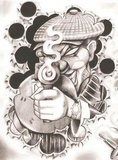 155 Chicano Tattoos - Photos, Designs for men and women Boog Tattoo, Payasa Tattoo, Tattoo Drawings, Chicano Tattoos, Kunst Tattoos, Bild Tattoos, Chicano Love, Chicano Art, Ghetto Tattoos