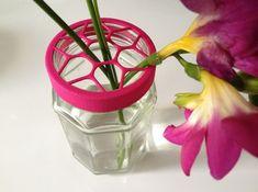 Flower Vase cap for jar size:58 (4 leads) 3d printed Flower Vase Cap Pink