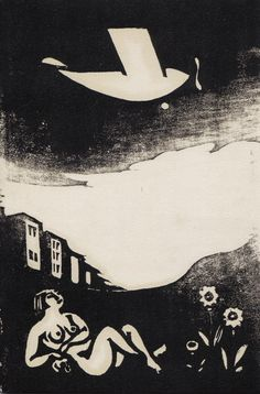 Yasunori Taninaka, Night Flight, c.1930 woodblock print