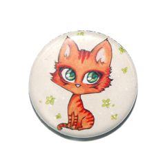 Badge chat roux, dessin de mon amie Chidori pour potager-enchante.com