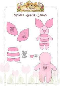 Molde Leitão, da turma do Ursinho Pooh em feltro I Winnie The Pooh - piglet template Felt Animal Patterns, Felt Crafts Patterns, Stuffed Animal Patterns, Felt Templates, Felt Christmas Ornaments, Christmas Pics, Felt Decorations, Disney Crafts, Sewing Toys
