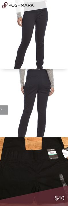 """DKNY Body Sculpt Jean True to size Elasticized waistband, mock fly, faux front pockets, functional coin pocket Back patch pockets, Length is40""""  30"""" inseam  10"""" rise  the waist across laying flat across is 15"""" 54% Cotton 44% Rayon 2% Spandex Machine wash cold, tumble dry low DKNY Jeans"""