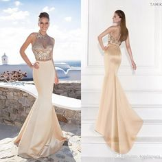 Hot Sexy Winter Formal Gown Beads Two Pieces Long Prom Party Dresses Tarik Ediz Spring 2015 Free Jacket Evening Gown Champagne Pageant Gown