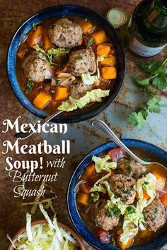Mexican Meatball Soup with Butternut Squash! Paleo, Whole Gluten Free (Whole 30 Mexican Recipes) Mexican Meatball Soup, Mexican Meatballs, Mexican Food Recipes, Real Food Recipes, Cooking Recipes, Healthy Recipes, Cooking Ribs, Beef Recipes, Dinner Recipes