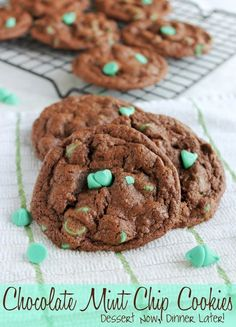 {Dessert Now, Dinner Later!} Chocolate Mint Chip Cookies - Soft, chewy chocolate cookies with melty mint chips.  #cookies #mint #chocolate