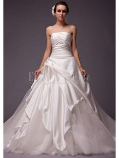 A-line Princess Strapless Cathedral Train Chiffon Tulle Stretch Satin Classic Wedding Dresses
