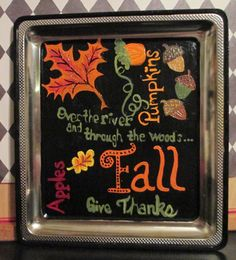 Fall Hand Painted Collage on Metal Plate by OurBurrowDesign