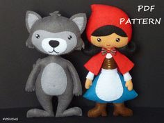 PDF sewing pattern to make a felt Little Red Riding Hood and a wolf 7.7 inches tall. (19 cm) It is not a finished doll. Includes tutorial with pictures