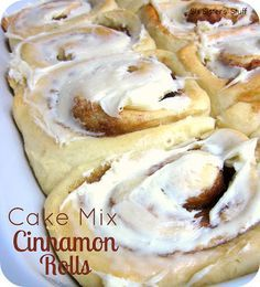 Cake Mix Cinnamon Rolls Recipe | Six Sisters' Stuff -  1 box of white or yellow cake mix 2 packages of active dry yeast 2 1/2 cups of warm water 1 teaspoon vanilla 1 teaspoon salt 5 cups flour Filling: 2 cups brown sugar Cinnamon 1/2 cup butter, softened