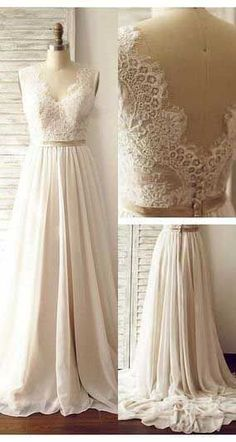 Lace A-Line Sexy Wedding Dresses,Long Wedding Dresses,Backless Wedding Dresses