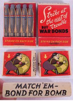 Matchbook 2pc Vintage Ad War Bonds WWII Bomb | Antique Helper