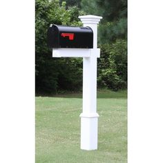 Black Mailbox with White Vinyl Post, Decorative Base, and New England Style Cap Black Mailbox, New Mailbox, Mailbox Post, Rural Mailbox Ideas, Mailbox Garden, Wall Mount Mailbox, Mounted Mailbox, Farmhouse Mailboxes, Painted Mailboxes