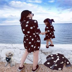 Free shipping 2015 new style family match outfits PARENT-CHILD Family mother and girls Set star ptints