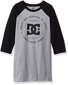 DC Big Boys Baseball Raglan Shirt BlackGrey Heather 16XL *** Find out more about the great product at the image link.Note:It is affiliate link to Amazon.