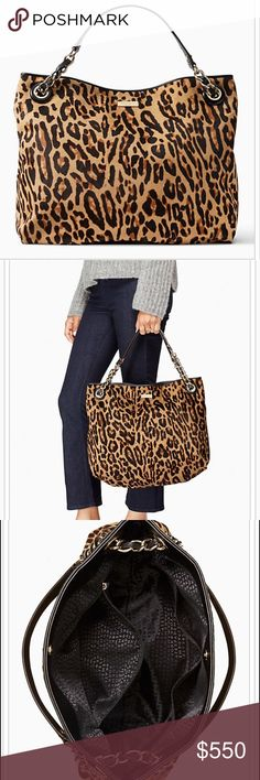 "Kate Spade NEW🎄 Darya Leopard Tote $795.00 OFF Kate Spade NEW 🎄Streetcar Darya Leopard Tote NEW 100% Authentic!!! Wrapped in Box from Kate Spade ready to Gift & Make someone's Christmas 🎁 14 KT light gold plated hardware, calf hair,  Capital Kate Jacquard Lining.   13.3"" H x 14.8"" W x 5.1 Diameter 🎅🏻 $795.00 OFF Retail 😍 kate spade Bags Totes"