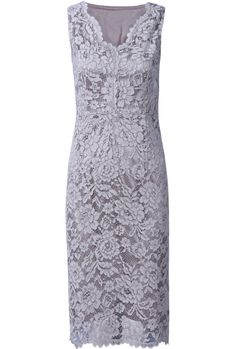 Grey Sleeveless V-neck Floral Lace Bodycon Dress <3 #lace #classic Would be pretty on you two but not this color