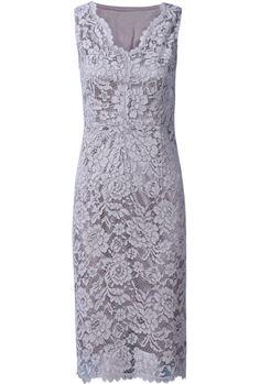 Grey Sleeveless V-neck Floral Lace Bodycon Dress