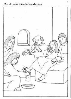 Pinto Dibujos: Jesús lavando los pies de sus discípulos