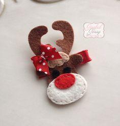 Reindeer hair clip Christmas hair clip hair by JoyfulJossyBowtique