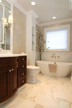hardware cherry cabinets | AMI Designs - bathrooms - calcutta marble countertop, calcutta marble ...