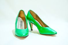VTG 80s Neon Green Patent Pumps 6. $40.00, via Etsy. Get 15% off with coupon code!