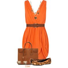 Orange Dress by talvadh on Polyvore featuring moda, Alice + Olivia, Yves Saint Laurent, Betsey Johnson and Dorothy Perkins