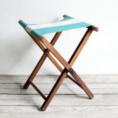 Vintage striped folding stools