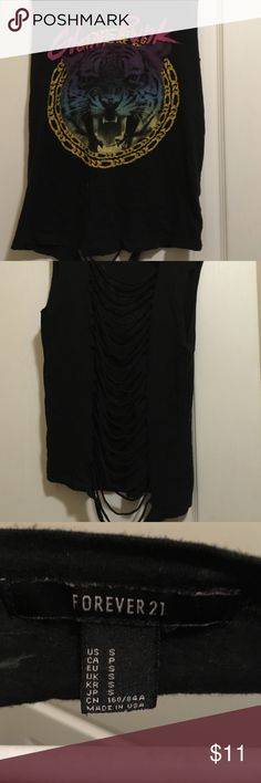 """For ever 21 women's t shirt sz s Black shredded in the back muscle style t says glam punk"""" on it good condition no stains Forever 21 Tops Tank Tops"""