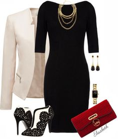 Get Inspired by Fashion: Classy Outfits | A Dress and a Blazer -- I quite like this ensemble without the blazer though...