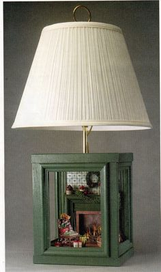 instructions to make roombox lamp base from (6) 5x7 picture frames, inserting the lamp & cord