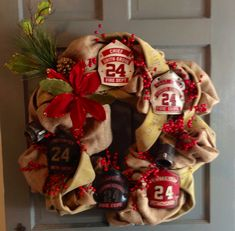 Firefighter Shield & Fire Hose Holiday Wreath Norton get on this! Firefighter Room, Firefighter Crafts, Firefighter Paramedic, Female Firefighter, Volunteer Firefighter, Fire Dept, Fire Department, Fire Hose Crafts, Dads