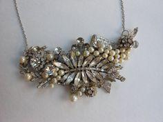 Couture bridal bib necklace collage rhinestone by 2007musarra, $145.00