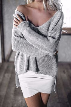 Grey V-neck Irregular Hem Plunge Jumper