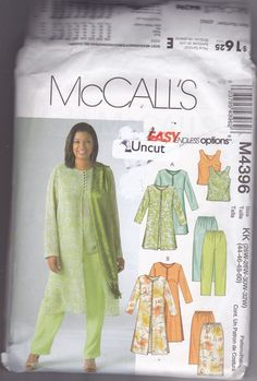 McCall's+M4396+Pattern+26W+28W+30W+32W+Uncut+Sheer+Duster+Top+Skirt+Pants+Dressy