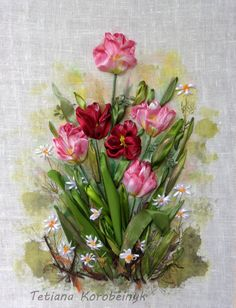 picture Spring  Silk ribbon embroidery by SilkRibbonembroidery