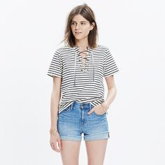 With graphic stripes and a '70s-inspired lace-up neckline, this softly structured top easily crosses the day-to-night divide. We're especially into the nautical vibes it's sending our way. <ul><li>Slightly boxy fit.</li><li>Cotton/poly.</li><li>Machine wash.</li><li>Import.</li></ul>