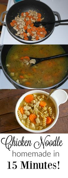 French Delicacies Essentials - Some Uncomplicated Strategies For Newbies This Easy Chicken Noodle Soup Is Ready From Start To Finish In 15 Minutes Using Precooked Chicken And Frozen Veggies. - Teaspoon Of Goodness Healthy Soup Recipes, Easy Dinner Recipes, Easy Meals, Dinner Ideas, Simple Meals, Chili Recipes, Quick Recipes, Lunch Ideas, Delicious Recipes